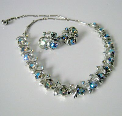 Vintage Coro Silver Tone Rhinestone  Choker Necklace and Earring Set