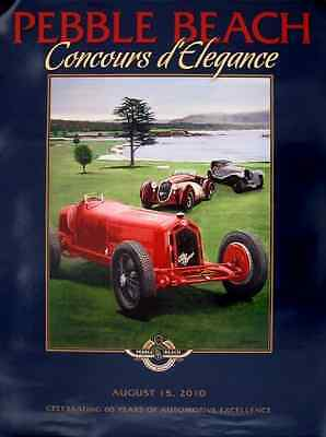 2010 Pebble Beach Concours Poster Alfa Romeo 8C 2300 Monza by Harold Cleworth