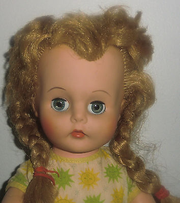 "Vintage 1960s EEGEE 3 Plastic Blonde Hair Blue Eyes Character Girl Doll 19"" Tall"