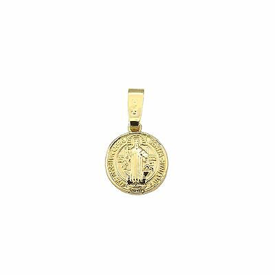 14k Gold Plated Saint Benedict San Benito Small Medal Charm Pendant