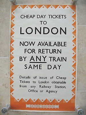 Original 1940 Poster WWII Railway Executive British Railways Cheap Ticket London