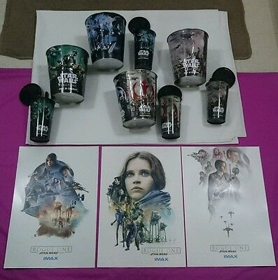 Complete Set of Star Wars Rogue One Popcorn Bucket, Cups & IMAX Poster Week 1-3