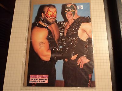 1980s The Road Warriors Animal & Hawk Wrestling Magazine Pin Up Poster 11 X 16
