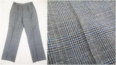 W32 L29 - Vintage 70's Mens Grey Blue Prince Of Wales Check Trousers - U981