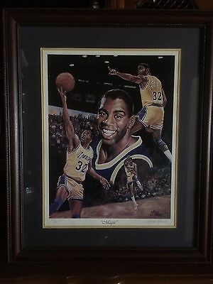 Magic Johnson Limited Edition 309/900 Framed Lithograph SIGNED Angelo Marino-COA
