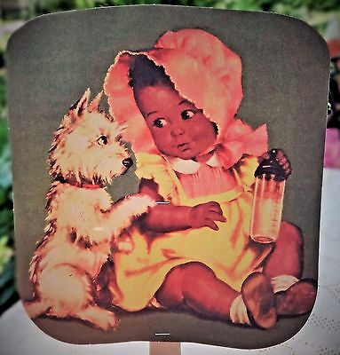 Vintage Cream Of Wheat Advertisement Paper Fan -  Baby Girl & Dog Illustration