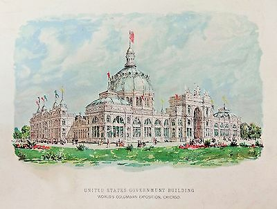 Vintage 1893 Picture From Chicago Times Art Supplement - Us Government Building