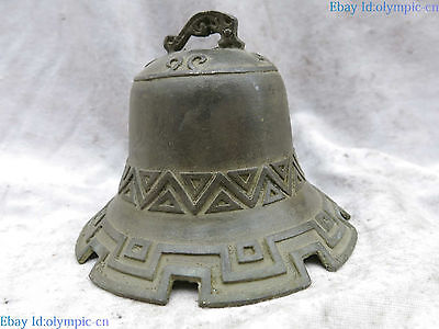 Old China bronze carved Primitive simplicity geometric pattern bell Statue