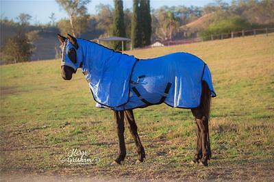 LOVE MY HORSE 4'9 - 7'0 Soft Mesh Rug + Hood Set Summer No UV No Insects - BLUE