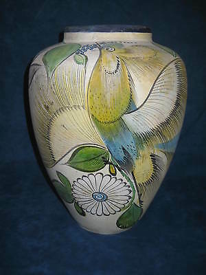 "OLD Large 14"" Mexican Tlaquepaque Tonala Style Vase/Jar..UNUSUAL..RARE..STRIKING"