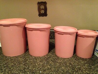 Vtg Tupperware Canister Set 4 With Lids Mauve Pink Dusty Rose  Great Set