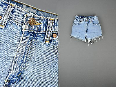 Vintage Levi's High Waist Denim Shorts Light Wash Trashed Grunge Soft Denim