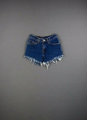 00-12 Vintage Levi's High Waist Denim Shorts Dark Wash Trashed Grunge Soft! 550