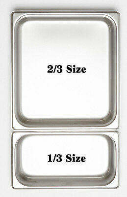 12 x 1/3 100mm Bain Marie Tray 18.10 Stainless Steel / Steam Pan /Gastronorm Pan