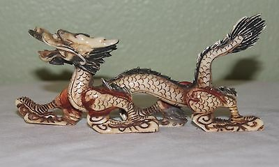 Highly Detailed Antique Carved Chinese Cow Bone/Bovine Dragon