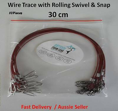 WIRE TRACE LEADER 316 Stainless Steel Red Nylon Coated, 30cm 50kg rated