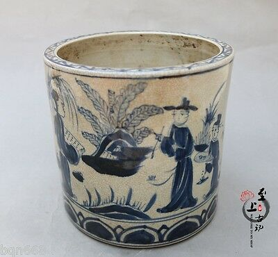 Chinese Old Jingdezhen ceramic Refined scholars Brush Pot Pen Vase Study Statue