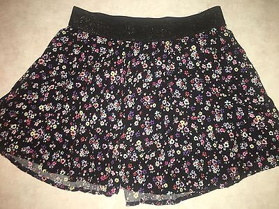 Girls Size 12 Justice Skort Skirt With Shorts Black Floral Print Elastic Waistba