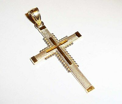 """10k yellow gold unique engraved cross(1.25""""inch)"""