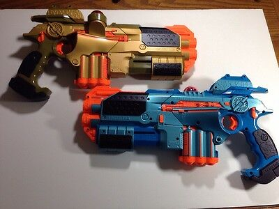 Lot of 2 Hasbro Nerf Phoenix LTX Laser Tag Taggers Blue and Gold Tested 2-Pack