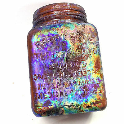 Antique Early 1900's ROBOLEINE THE IDEAL FOOD JAR With Benicia Iridescent Effect