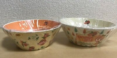 【Very Rare!】Disney Japan Orange Bird Bowl 2Set Kitchenware Free Shipping