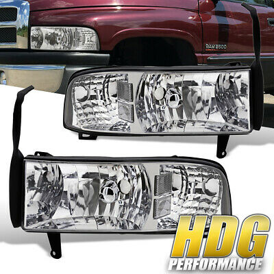 For Dodge Ram 94-01 1500 2500 1Pc Headlights Chrome Housing W/ Clear Reflectors