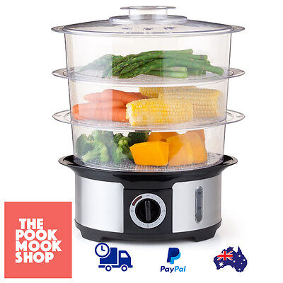 Electric Food Steamer Cooker, 3-Tier, Easy Clean w/ Steam Timer Bell Kitchen
