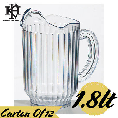 12 x Jug / Pitcher 1.8lt Ribbed Clear High Quality SAN Plastic Water /Soft Drink