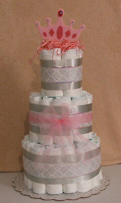 3 Tier Diaper Cake Silver & Pink Princess Baby Shower Centerpiece