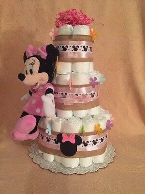 3 Tier Diaper Cake Walt Disney MINNIE MOUSE Baby Shower  Pink It's a Girl