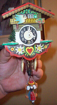 Rare Vintage Cuckoo Clock Made In Germany With Key Works But Won't Stay Running