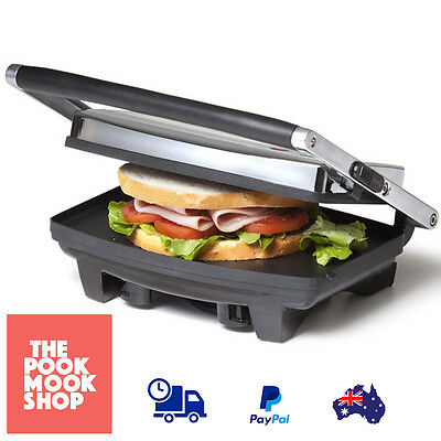 Sandwich Press Grill Electric 2 Slice Griddle Panini Bread Toast Flat Plates