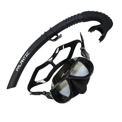Palantic Black Free Dive Spearfishing Low Volume Mask & Flexible Snorkel Combo