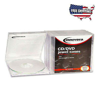 Innovera CD/DVD Standard Jewel Cases 10 Pack Clear Storage Transparent Set New