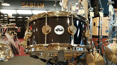 DW Drum Workshop Collectors 6.5x14 Black Nickel Over Brass Snare Drum Gold HW