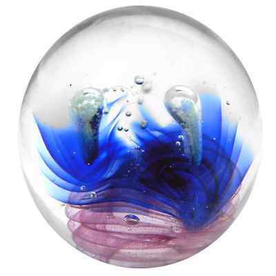 New Glass Paperweight Magnificent Night 10x10x10cm Blue Pink Ball Shape