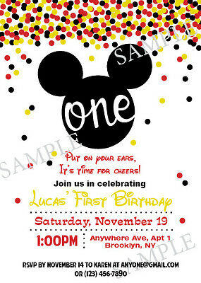 mickey mouse birthday invitation 5x7 personalized diy