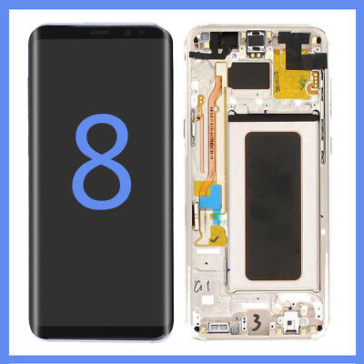 LCD Display Screen Digitizer Frame Replacement For Samsung Galaxy S8 G950 Gold