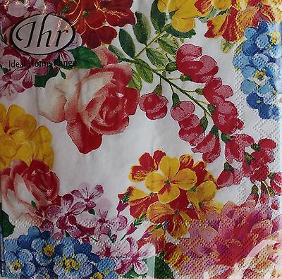 *IHR Set of 20 Cocktail Beverage Paper Napkins ~Floral~Roses~POTPOURRI white