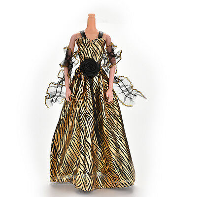 Stripe Golden Luxury Grown Widding Dress for Barbies with Shawl  LE