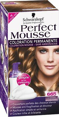 coloration schwarzkopf perfect mousse N°665 chatain dore clair neuf