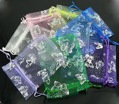 12 Colors 100pcs Butterfly Organza Candy Gift Bags Jewelry Pouch Wedding Favors