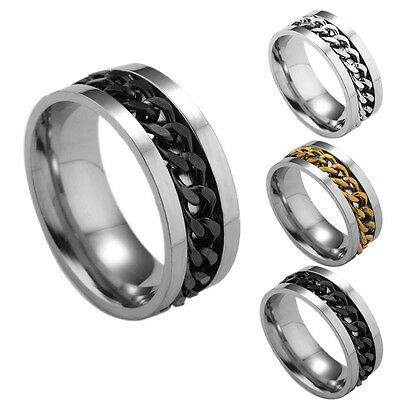 2017 New Fashion Men's Titanium Steel Rings Spin Chain Rings 3 Colors