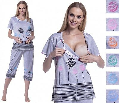 Happy Mama. Women's Maternity Top Nursing Breastfeeding Pyjamas Nightwear. 174p