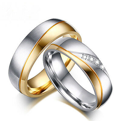 Women Men Couple Stainless Steel Band Ring 18K Gold Plated CZ Rings Size 7-11