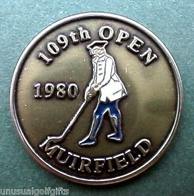 "1980 Open Old Golf Ball Marker 1"" Coin Old Muirfield Links Scotland   Tom Watson"