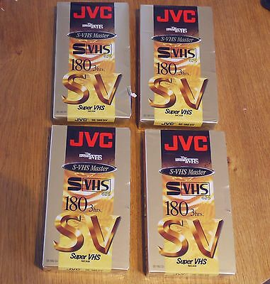 Four JVC SE-180 SV Super S-VHS Video Tapes New Sealed