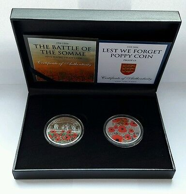 2016 Remembrance Poppy /Battle of the Somme 100 years WW1 £5 Proof Coins COA (1)