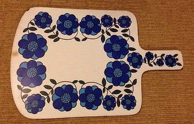 Vintage Flower Power Chopping Board Blue Retro 1960s